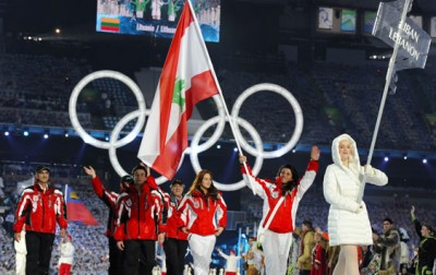 Three athletes from Lebanon are competing in the 2010 Vancouver Winter Olympic Games - all skiers. Three-time Olympian Chirine Njeim (25) carries the flag, walking alongside teammates Jacky Chamoun (18) and Ghassan Achi (16). Getty Images