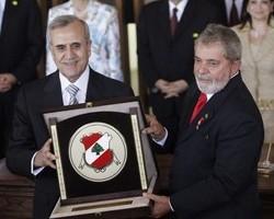 Suleiman in brazil w   President Luiz Inacio Lula da Silva