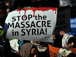 syrian banner stop the massacre in Syria