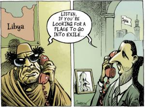 assad-gaddafi exile cartoon