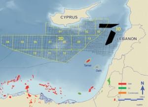 Lebanon offshore oil gas basin