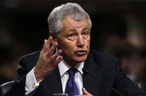 Former U.S. Senator Hagel testifies during Senate Armed Services Committee hearing on his nomination to be Defense Secretary, on Capitol Hill in Washington