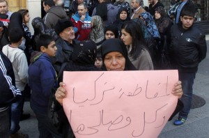 protest by relatives of lebanese hostages