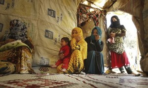 Syrian refugees in a settlement in Lebanon's Bekaa valley
