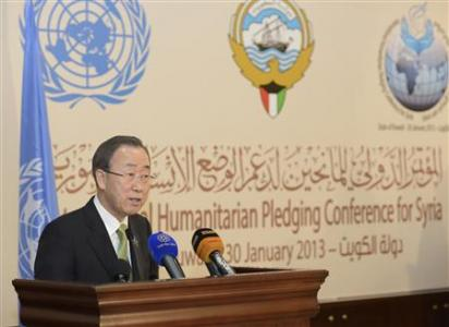 """U.N. Secretary-General Ban speaks to the media after the first day of the """"International Humanitarian Pledging Conference for Syria"""" in Bayan Palace, Kuwait"""