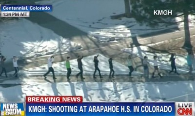 Terror: The students kept their hands in the air where the gunman opened fire on Friday afternoon