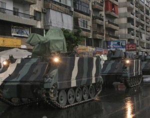 Lebanese army soldiers are deployed on the streets of Tripoli northern Lebanon