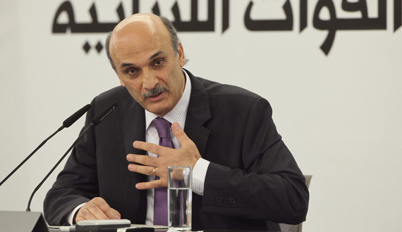 Samir Geagea, leader of the Christian Lebanese Forces, speaks during a news conference at his house in Maarab village