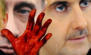 Syrian president bashar al Assad and Russian president Vladimir Putin  with bloodied hands.