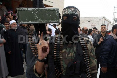 Palestinian militants of the Ezzedine al-Qassam Brigades, Hamas' armed wing, in the central Gaza Strip.
