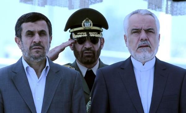 File photo: Former Iranian President Mahmoud Ahmadinejad (L) and Iranian First Vice President Mohammad-Reza Rahimi  are shown   at Tehran's Mehrabad Airport