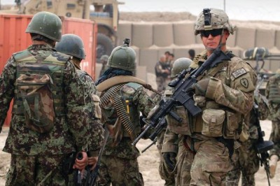 Afghan and american soldiers at a base in Afghanistan