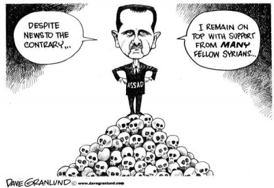 assad has the support of syrian  cartoon