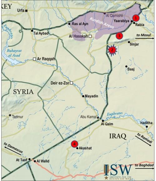 iraq syria  Rabia border crossing  map