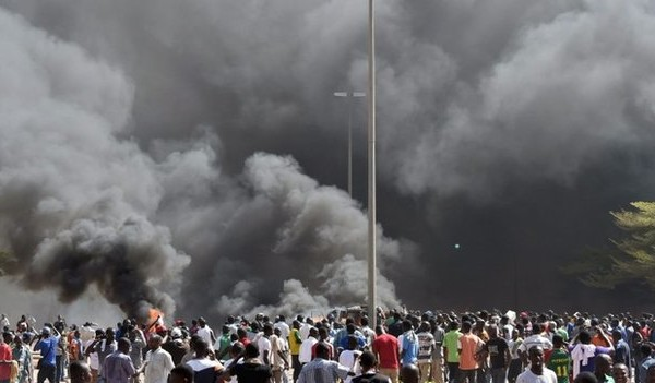 Burkina Faso parliament  was set ablaze by angry protesters