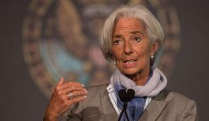 International Monetary Fund (IMF) Managing Director Christine Lagarde speaks at Georgetown University in Washington,DC on October 2, 2014 (AFP PHOTO/Nicholas KAMM)