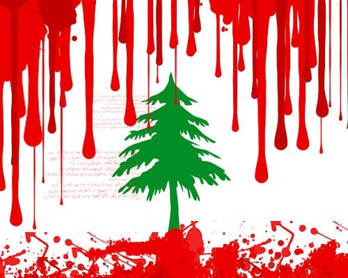 Lebanon flag blood all over