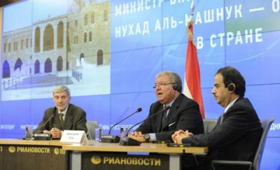 Lebanese Interior Minister Nouhad Mashnouq  ( C) during a press conference in Moscow after visiting  Russian National Security Headquarters Sept 19, 2014