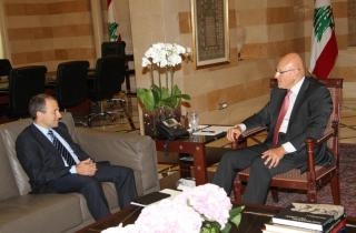 File photo of a meeting between  PM Tammam Salam and FM  Gebran Bassil.