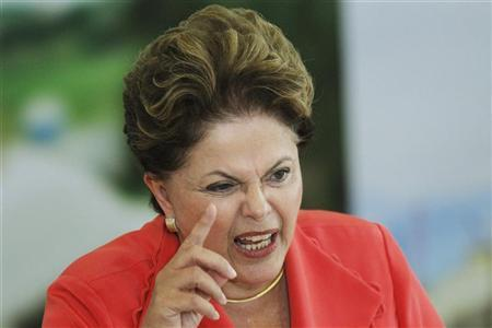 Dilma Rousseff speaks during the signing ceremony of the National Commitment to Improvement of Working Conditions in the Construction Industry at the planalto palace in Brasilia