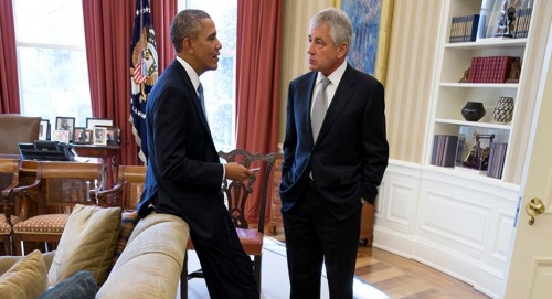 hagel , obama war room