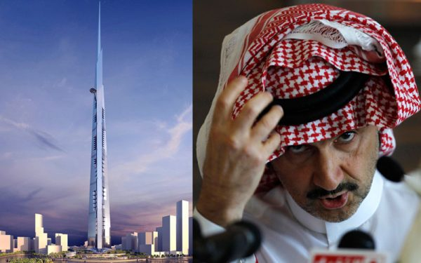 Prince Alwaleed Bin Talal Bin Abdulaziz Alsaud, Chairman of Kingdom Holding Company (KHC) and Chairman of the Board of Jeddah Economic Company (JEC) is shown in a combined photo with his project the highest tower in the world that he is being built in Jeddah