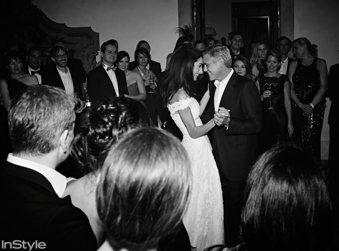 The newly married pair enjoyed their first dance together as Mr. and Mrs. Clooney at the Aman Canal Grande luxury resort in Venice, Italy, surrounded by family and friends.