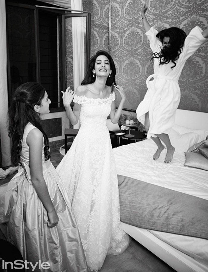 Budding style star Amal enjoyed time before the ceremony with her family and bridesmaids before her big walk down the aisle.