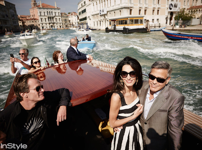 Amal Alamuddin and George Clooney arrived for their Italian wedding in style aboard a water taxiboat with family and friends. The bride-to-be donned a chic Dolce & Gabbana frock as the couple took in the stunning view.