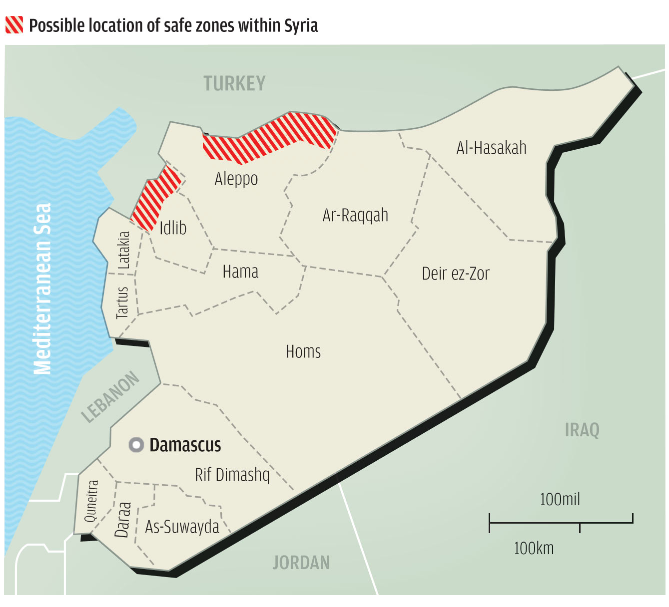 US Weighs A New Front To Create Safe Zone In Syria - Map of us safe zones
