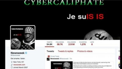 """During the hack, Newsweek's twitter account showed a picture of a hooded figure and the words """"Cyber Caliphate"""" along with the message """"Je SuIS IS,"""" a response to the """"Je Suis Charlie"""" messages following the deadly attacks at French weekly Charlie Hebdo."""