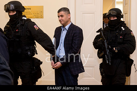 The Prague Municipal Court dismissed a request of the Lebanese Ali Fayad (pictured) on release from custody in Prague, Czech Republic, November 6, 2014. Fayad was arrested in Prague and the United States accused him of collaborating with terrorists. According to the prosecution he is  wanted along with two accomplices for selling  weapons and drugs for 160 million crowns to agents pretending to be members of the Colombian terrorist organization. © CTK/Alamy Live News