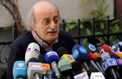 Walid Jumblatt speaks to the press after negotiations with Jabhat a-Nusra. Photo courtesy of Al-Quds.