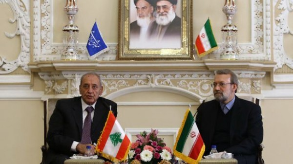 Lebanese Parliament Speaker Nabih Berri with his Iranian counterpart Ali Larijani in a file photo during his last visit to Tehran