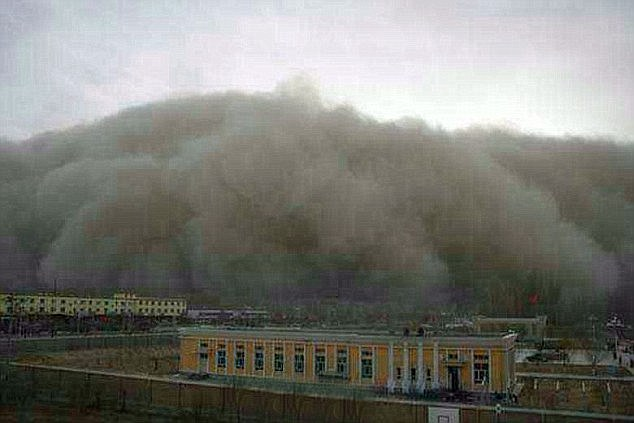 A raging sand storm sweeps in on the city of Golmud in north west China, where 200,000 people live