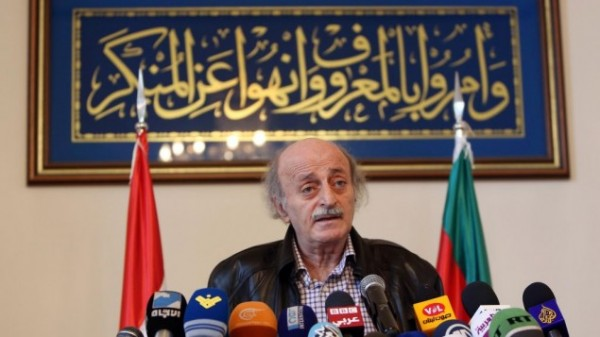 MP Walid Jumblatt, the political leader of Lebanon's minority Druze sect, speaks during a press conference after a meeting of the Druze community's religious leadership in Beirut, Lebanon, Friday, June 12, 2015. (AP Photo/Bilal Hussein)
