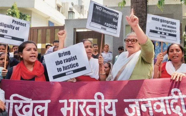 All India Democratic Women's Association activists protest outside the Saudi Embassy in New Delhi on Thursday.