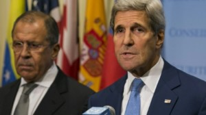US Secretary of State John Kerry and Russia Foreign Minister Sergei Lavrov speak to the media after a meeting concerning Syria, at UN headquarters in New York on September 30, 2015 AFP