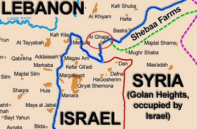 ghajar-map, lebanon, israel