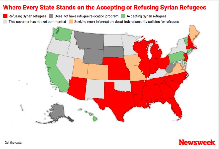 Syrian Refugees Not Welcome Here Governors Of US States Say - Governor's in us by state map party affiliation