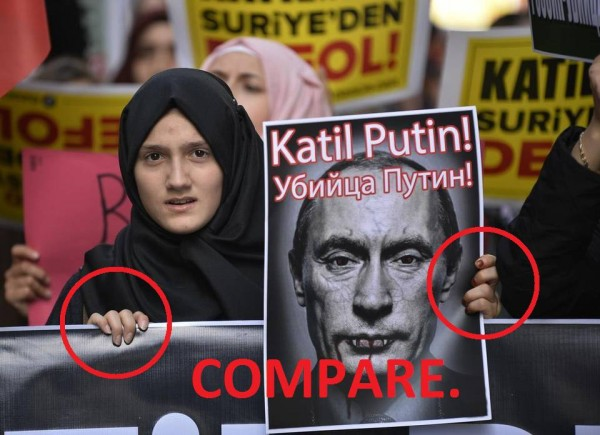 "Protesters shout slogans and hold a poster depicting Russian President Vladimir Putin and reading ""Putin, murderer !"" during a demonstration in Istanbul against Russia on November 27, 2015"