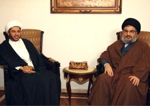 Bahrain's Al Wefaq party  leader Ali Salman is shown  in a file photo with Hezbollah chief Hassan Nassrallah.  A Bahraini court  sentenced last June  Salman  to 4 years in prison  . Salman who studied in the  Iranian city of Qum is closely associated with the Iranian leaders and favors the Wilayat al Faqih System