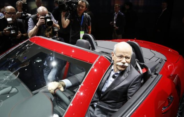 Dr. Dieter Zetsche, Chairman of the Board for Daimler AG and Head of Mercedes-Benz, sits in the 2016 Mercedes-AMG SLC 43 at the North American International Auto Show in Detroit, Michigan, Janurary 11. 2016.  REUTERS/Gary Cameron