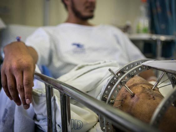A wounded Syrian being treated in Zefat, Israel