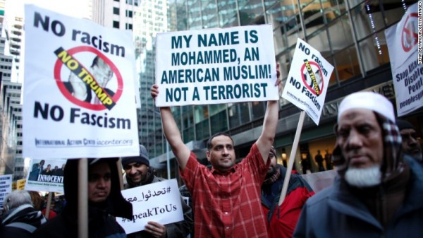 Muslim-Americans rally in front of Trump Tower in Manhattan as part of a demonstration against Donald Trump in December.