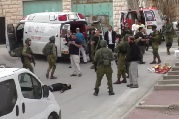 An Israeli soldier  Elor Azaria shot a  Palestinian man, who was suspected in a knife attack   in the head as he lies injured on the street in Hebron in  the occupied West Bank. soldier who shot and killed a wounded Palestinian assailant .  The soldier went on trial on manslaughter charges on May 9, 2016  in a rare case that focuses on allegations of excessive use of force in confronting Palestinian attacks.