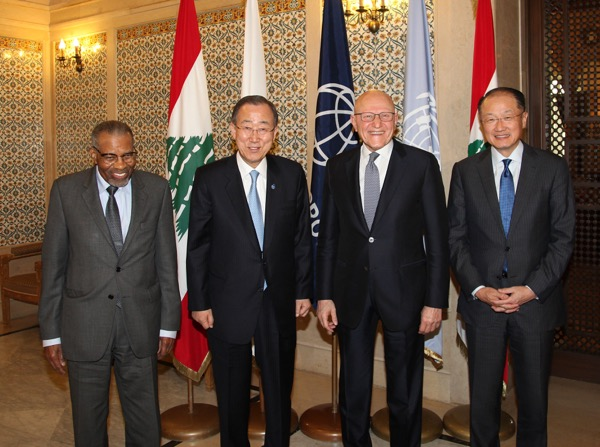 United Nations Secretary-General Ban Ki-moon ( 2nd from left) with Prime Minister Tammam Salam ( 2nd from R), World Bank chief Jim Yong Kim (R) and Islamic Development Bank President Ahmed Mohamed Ali Al-Madani ( L). The UN chief is on a 2- day official visit to Lebanon