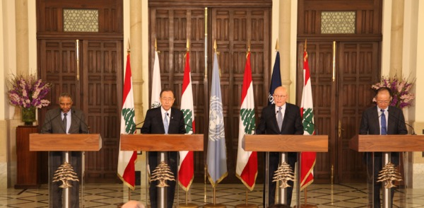A press conference  by United Nations Secretary-General Ban Ki-moon ( 2nd from left) with Prime Minister Tammam Salam ( 2nd from R), World Bank chief Jim Yong Kim (R) and Islamic Development Bank President Ahmed Mohamed Ali Al-Madani ( L). The UN chief is on a 2- day official visit to Lebanon
