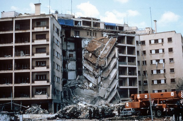 A view of the damage to the U.S. Embassy after the bombing. April 1983. Iran and Its proxy Hezbollah were accused of being behind the bombing that killed 63 people, mostly embassy staff members and several soldiers. The top U.S. court ruled that $2 billion in frozen Iranian assets must be paid to American victims of attacks blamed on Tehran.