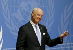 U.N. mediator Staffan de Mistura attends a news conference after the conclusion of a round of meetings during the Syria Peace talks at the United Nations in Geneva, Switzerland, April 28, 2016.  REUTERS/Denis Balibouse